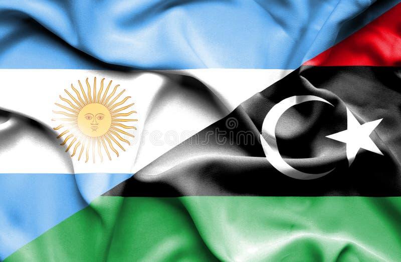 利比亚和阿根廷的挥动的旗子 向量例证