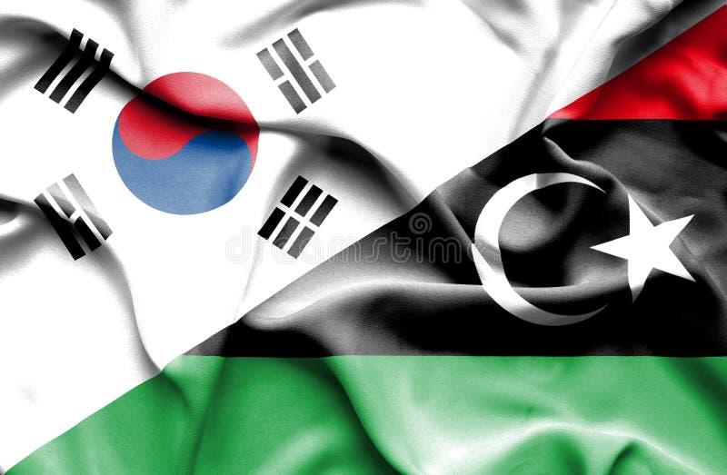 利比亚和韩国的挥动的旗子 库存例证
