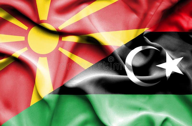 利比亚和马其顿的挥动的旗子 库存例证