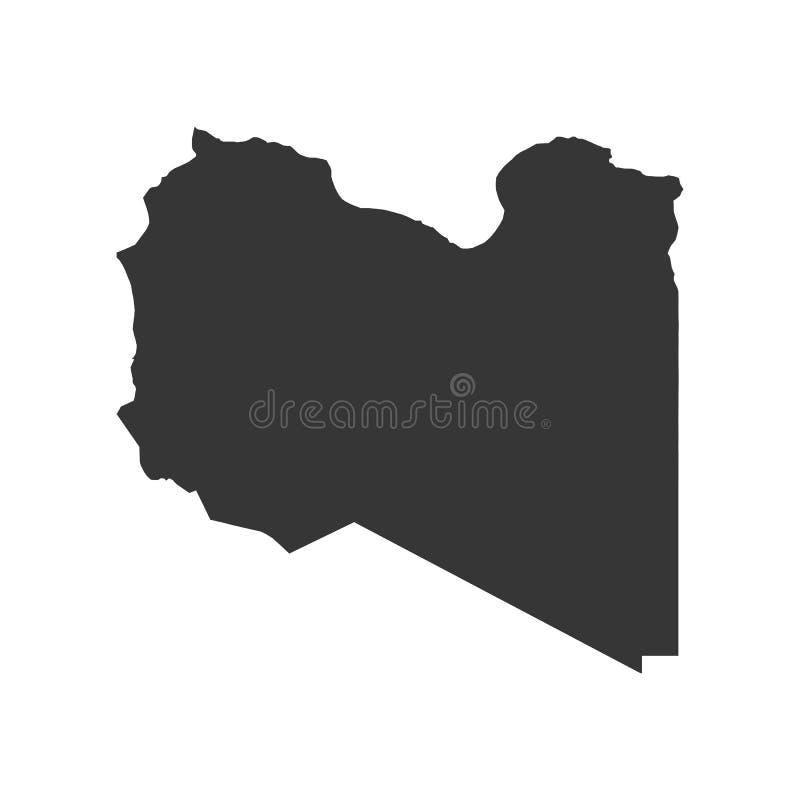 利比亚地图剪影 向量例证