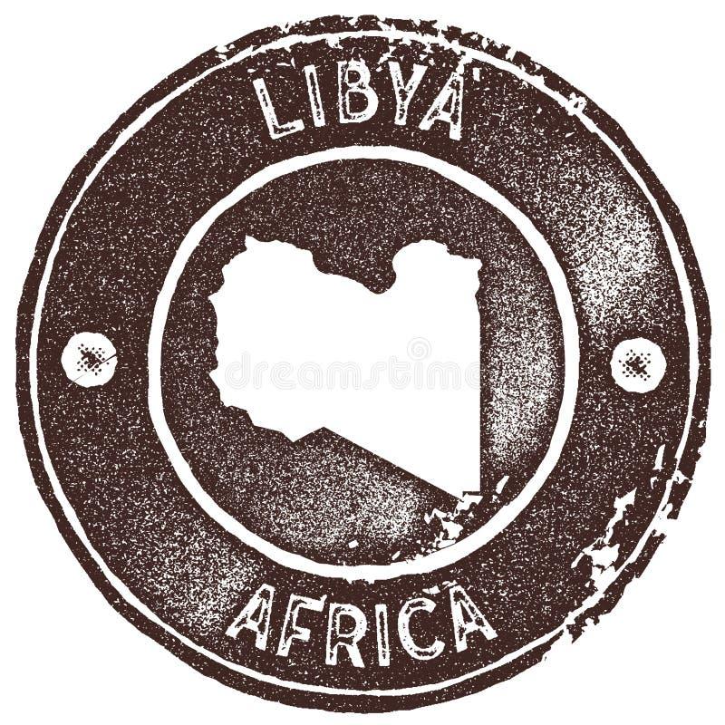利比亚地图葡萄酒邮票 向量例证