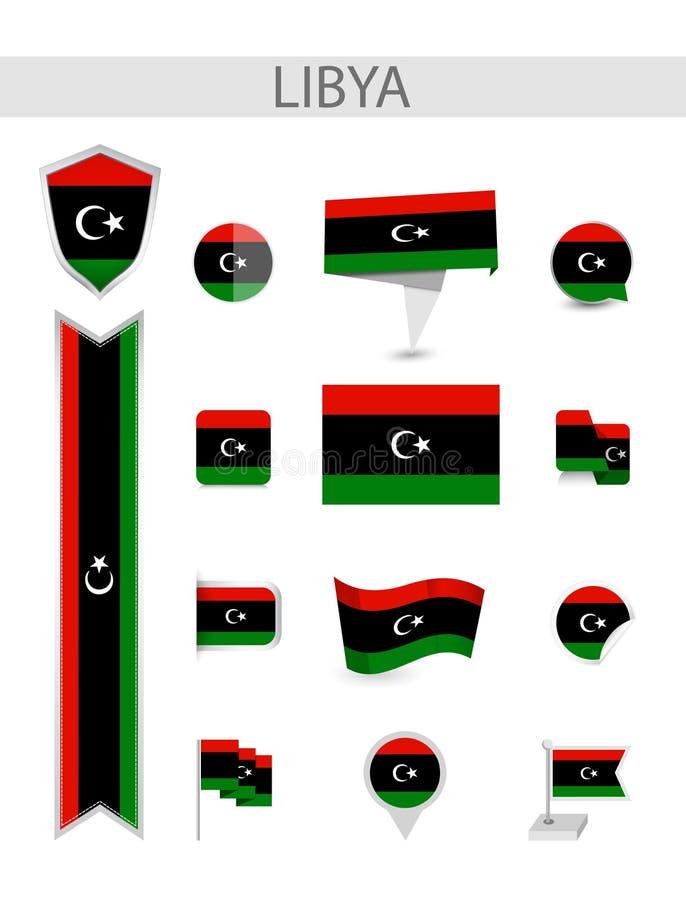 利比亚平的旗子收藏 向量例证