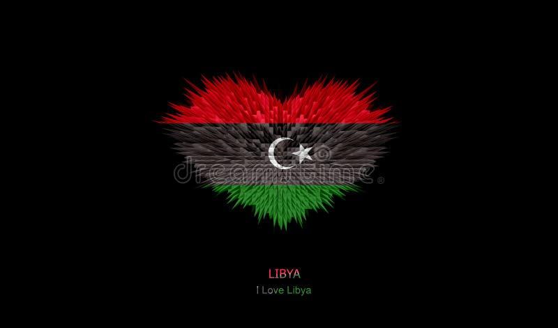 利比亚旗子的心脏 向量例证