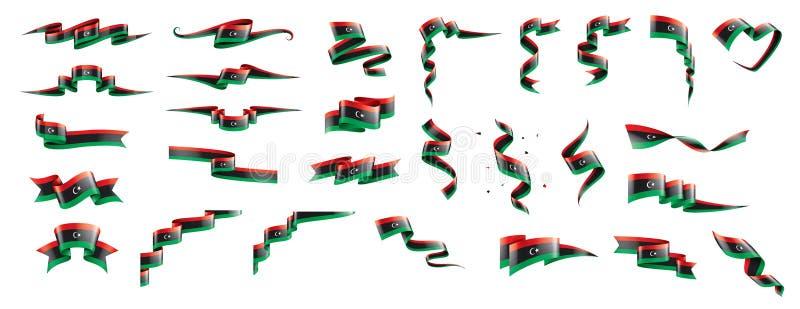 利比亚旗子,在白色背景的传染媒介例证 库存例证