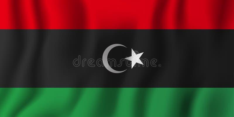 利比亚现实挥动的旗子传染媒介例证 全国国家背景标志 背景日减速火箭grunge的独立 向量例证