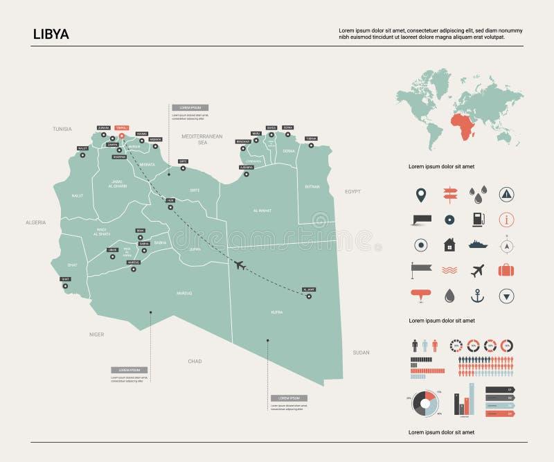 利比亚的传染媒介地图 与分裂、城市和首都的黎波里的高详细的国家地图 r 库存例证