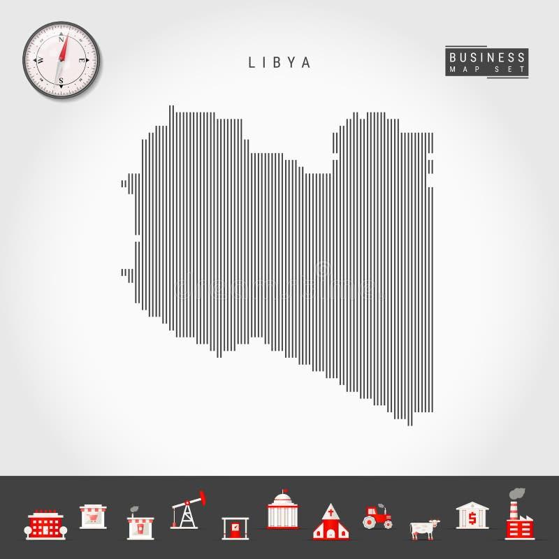 利比亚的传染媒介垂直线地图 利比亚的镶边剪影 现实指南针 r 向量例证