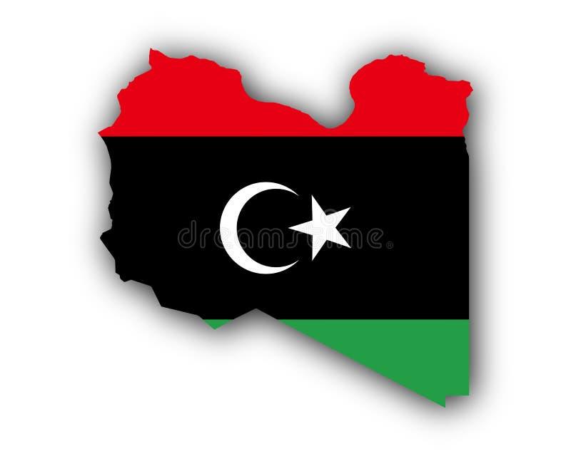 利比亚的地图和旗子 皇族释放例证