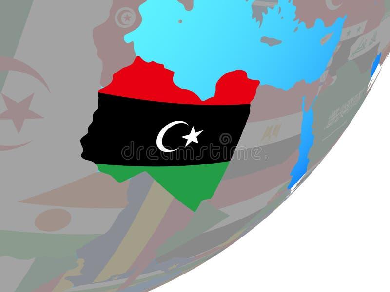 利比亚的地图有旗子的在地球 皇族释放例证