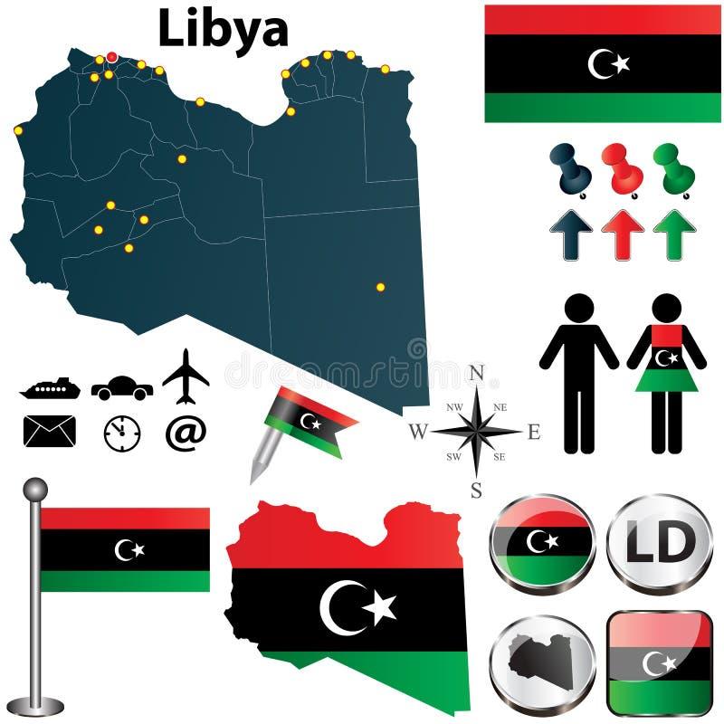 利比亚的地图 库存例证
