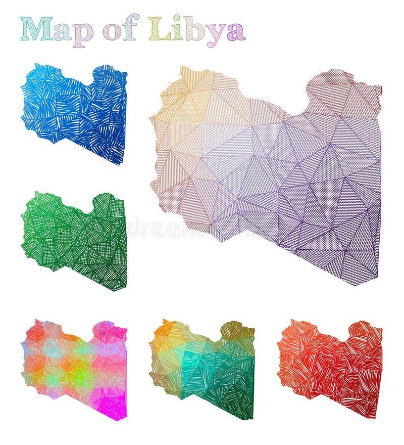 利比亚的手拉的地图 向量例证