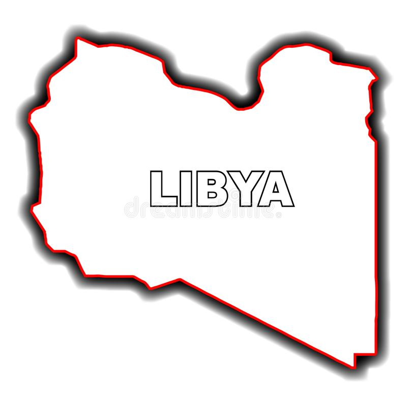 利比亚的概述地图 皇族释放例证