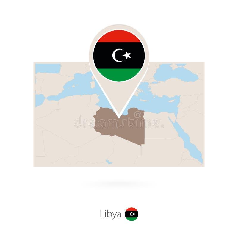利比亚的长方形地图有利比亚的别针象的 库存例证