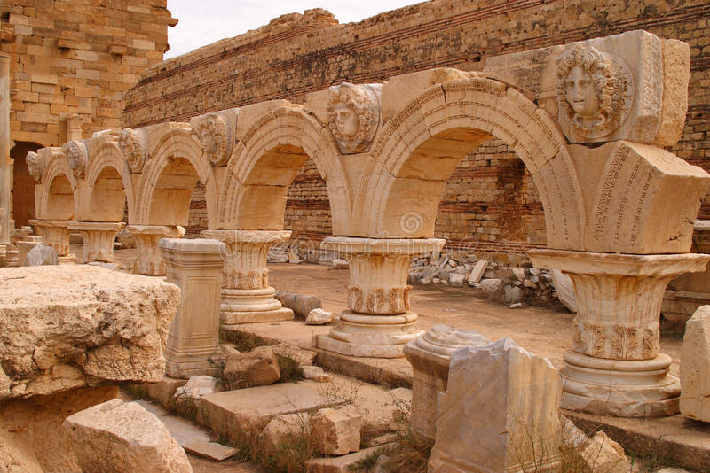 利比亚的黎波里大莱普提斯罗马考古学站点 - 联合国科教文组织站点 免版税图库摄影