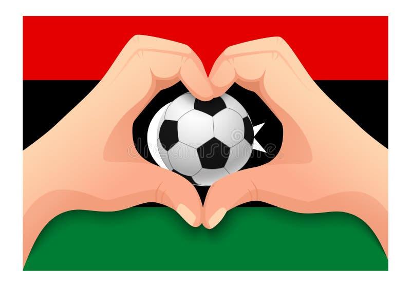 利比亚足球和手心形 皇族释放例证