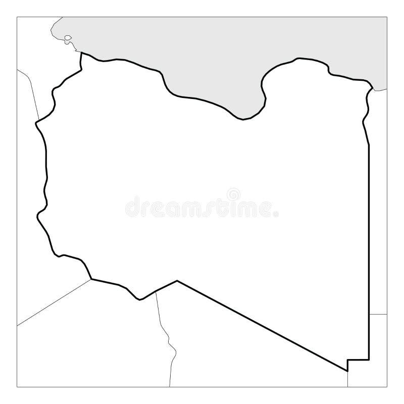利比亚黑色厚实的概述地图突出了与附近国家 库存例证
