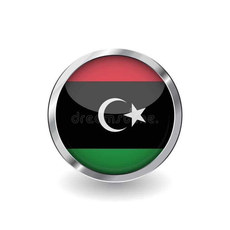 利比亚,有金属框架和阴影的按钮的旗子 利比亚旗子传染媒介象、徽章与光滑的作用和金属边界 可实现 皇族释放例证