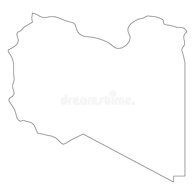 利比亚-国家区域坚实黑概述边界地图  简单的平的传染媒介例证 库存例证