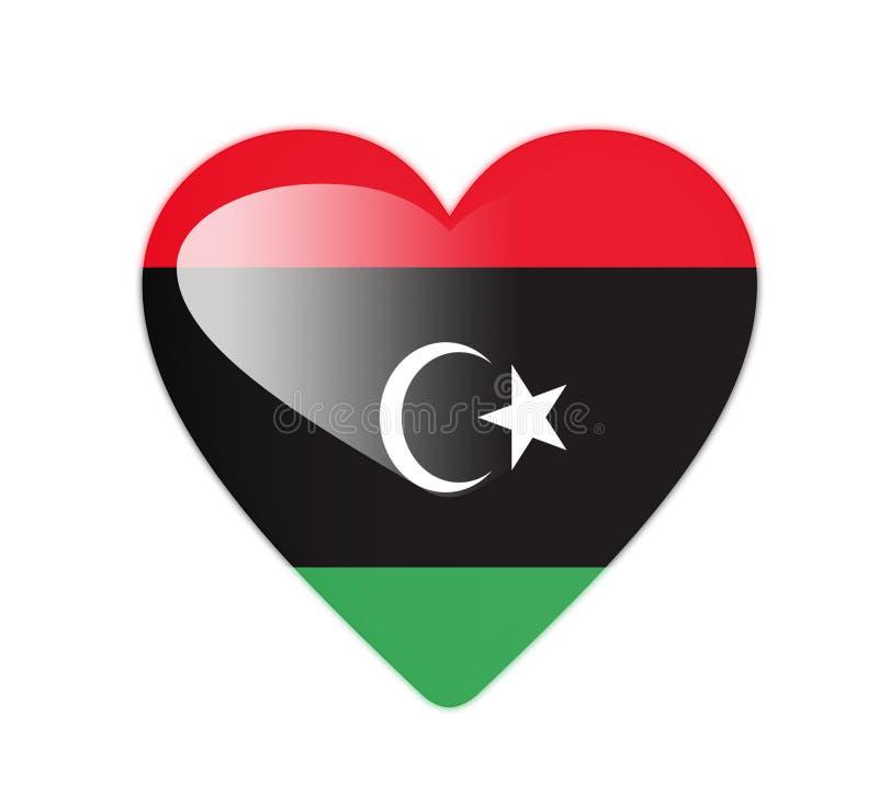 利比亚3D心形的旗子 库存例证