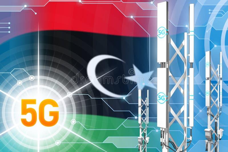 利比亚5G工业例证、大多孔的网络帆柱或者塔在现代背景与旗子- 3D例证 库存例证