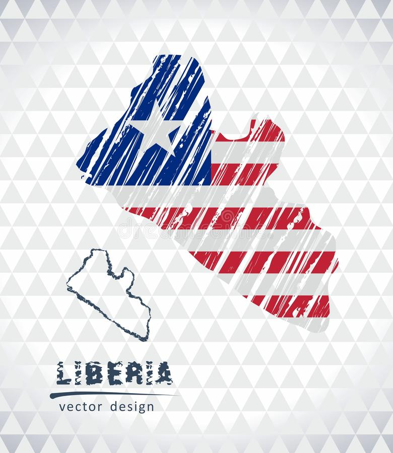 利比里亚与在白色背景隔绝的旗子里面的传染媒介地图 剪影白垩手拉的例证 向量例证