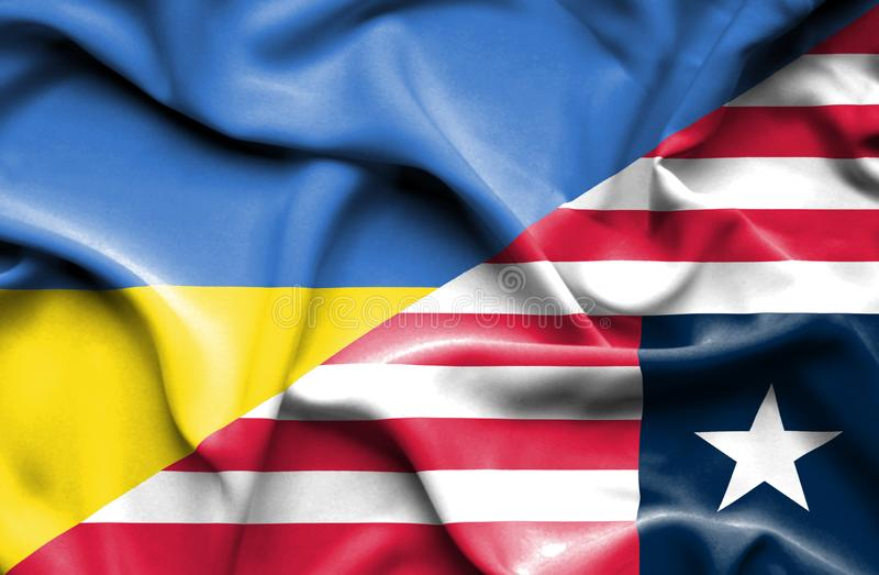 利比里亚和乌克兰的挥动的旗子 皇族释放例证