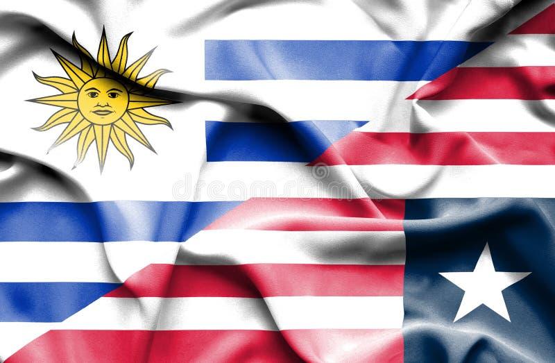 利比里亚和乌拉圭的挥动的旗子 向量例证
