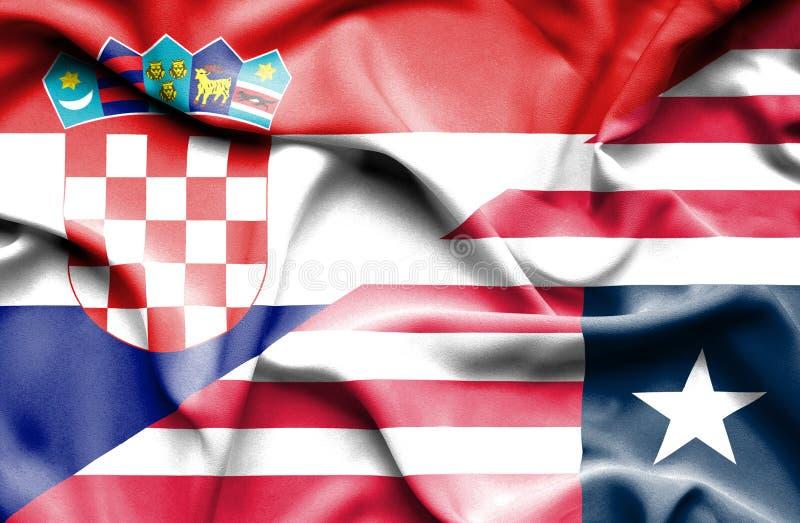 利比里亚和克罗地亚的挥动的旗子 皇族释放例证