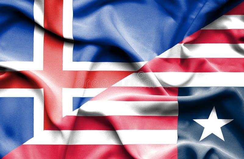 利比里亚和冰岛的挥动的旗子 向量例证