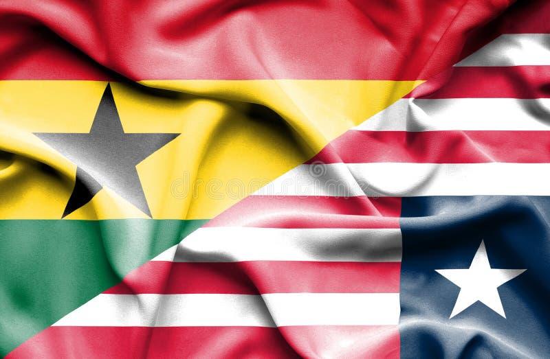 利比里亚和加纳的挥动的旗子 皇族释放例证
