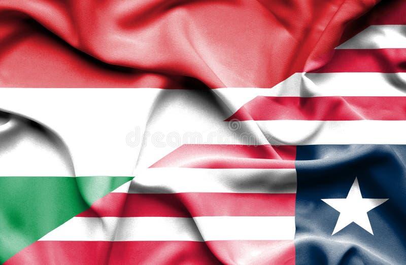 利比里亚和匈牙利的挥动的旗子 皇族释放例证