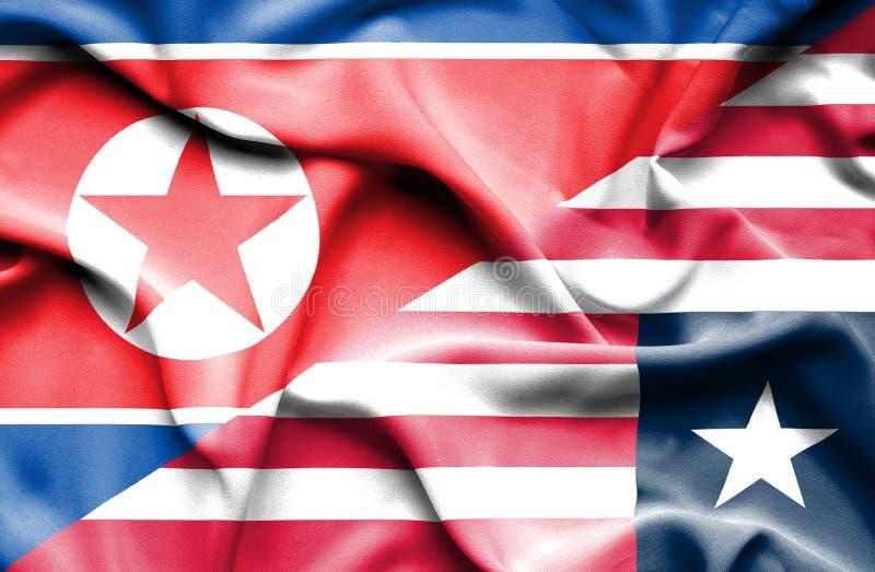 利比里亚和北朝鲜的挥动的旗子 向量例证
