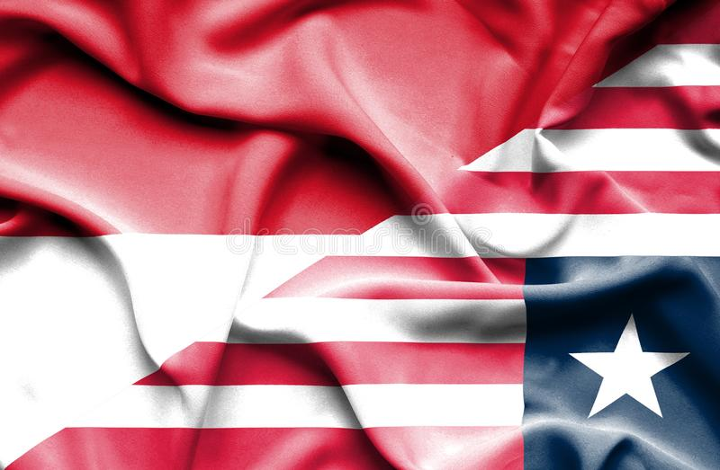 利比里亚和印度尼西亚的挥动的旗子 皇族释放例证