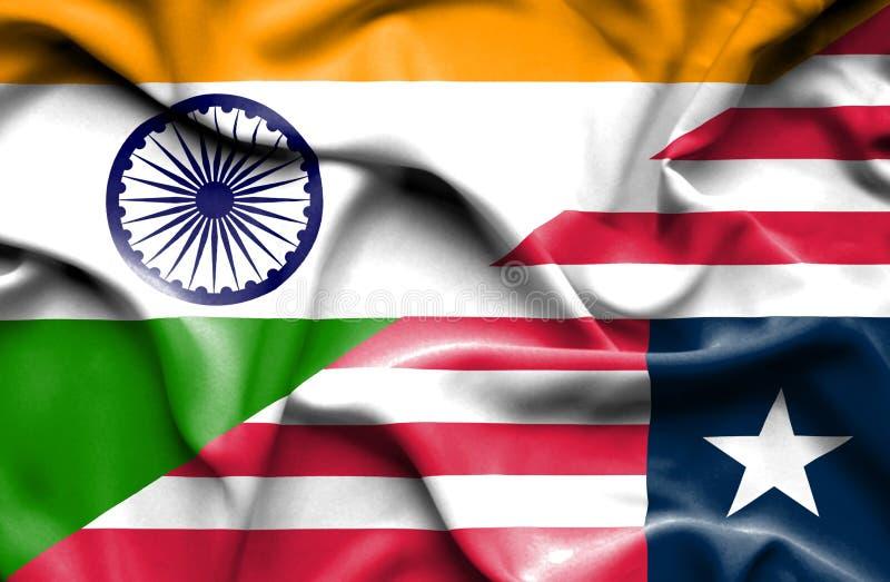 利比里亚和印度的挥动的旗子 皇族释放例证