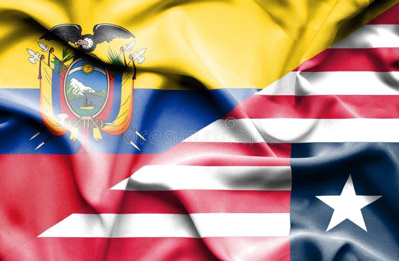 利比里亚和厄瓜多尔的挥动的旗子 皇族释放例证