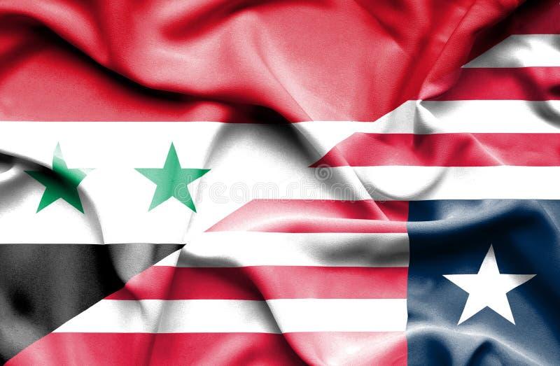 利比里亚和叙利亚的挥动的旗子 皇族释放例证