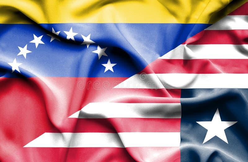 利比里亚和委内瑞拉的挥动的旗子 库存例证