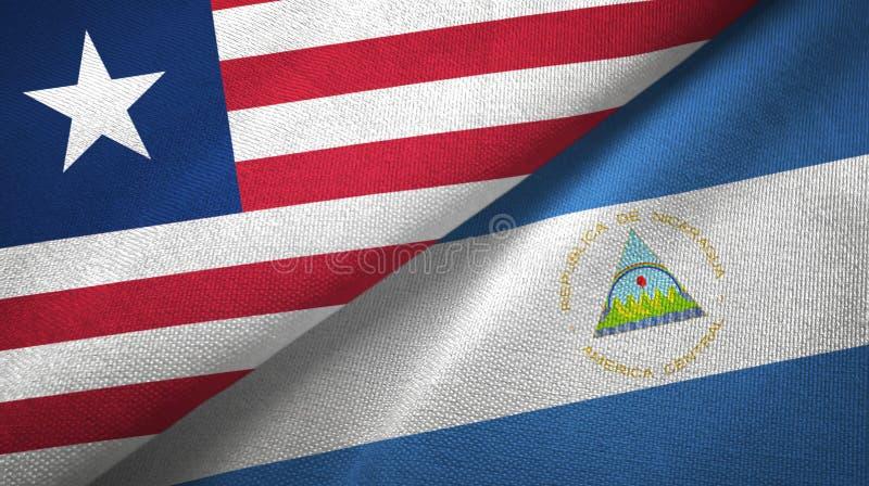 利比里亚和尼加拉瓜两旗子纺织品布料,织品纹理 向量例证