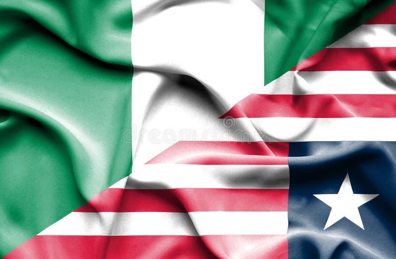 利比里亚和尼日利亚的挥动的旗子 库存例证