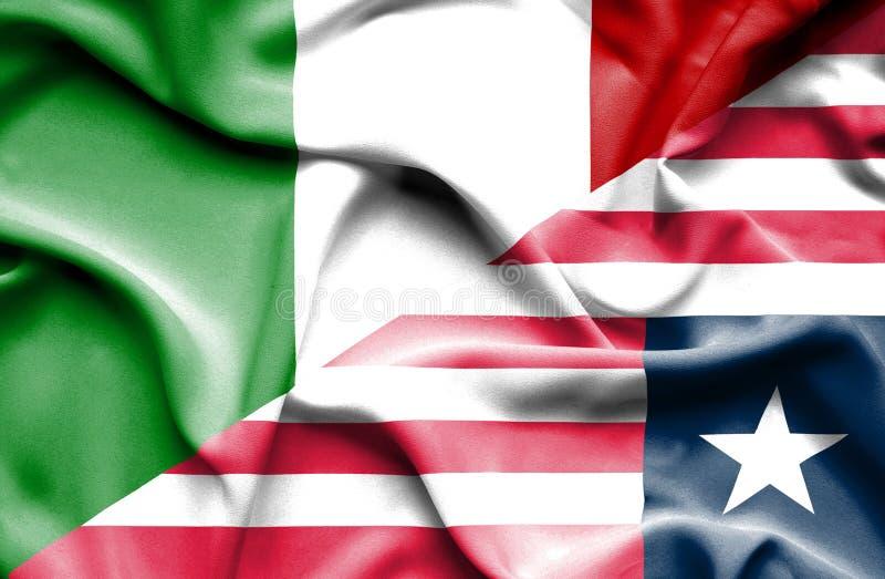 利比里亚和意大利的挥动的旗子 库存例证
