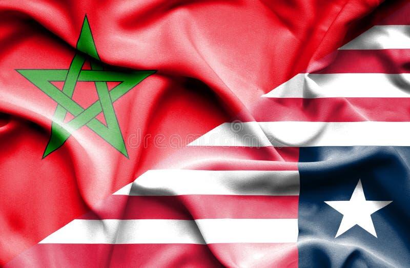 利比里亚和摩洛哥的挥动的旗子 皇族释放例证