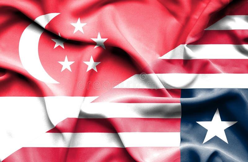 利比里亚和新加坡挥动的旗子  向量例证