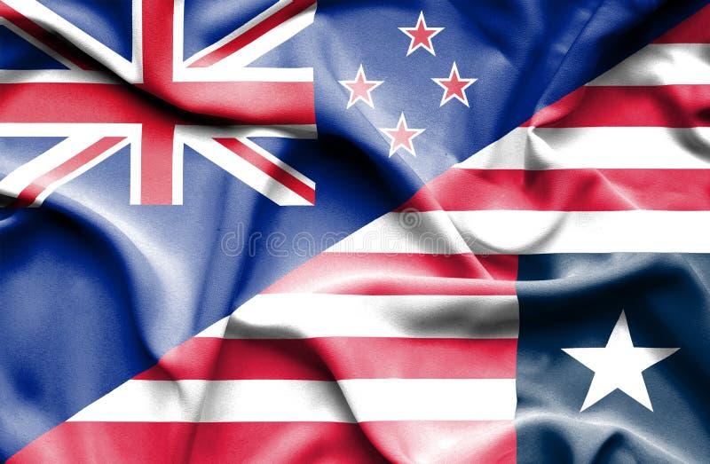 利比里亚和新西兰的挥动的旗子 皇族释放例证