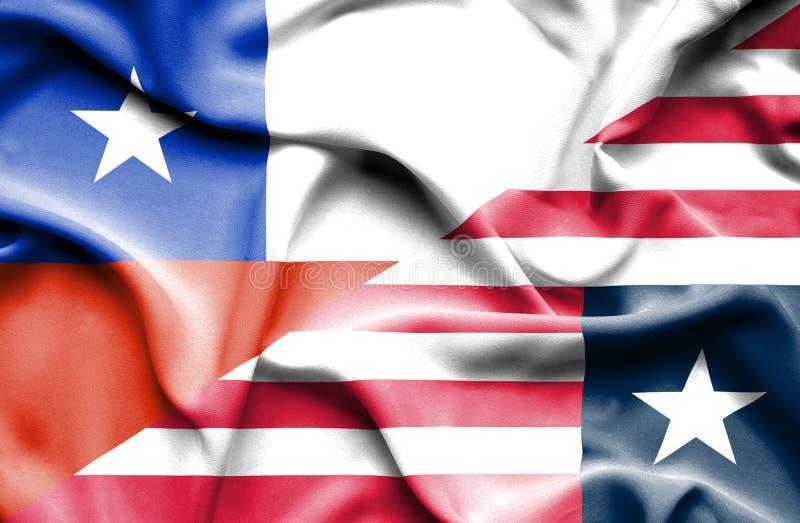 利比里亚和智利的挥动的旗子 向量例证