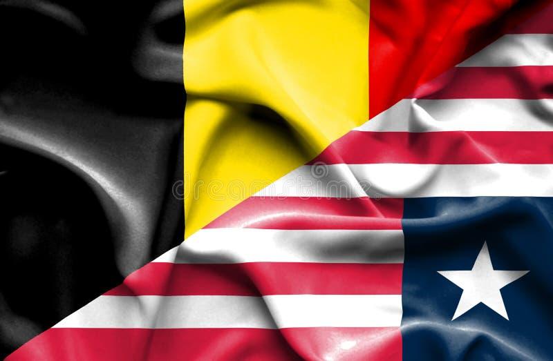 利比里亚和比利时的挥动的旗子 库存例证