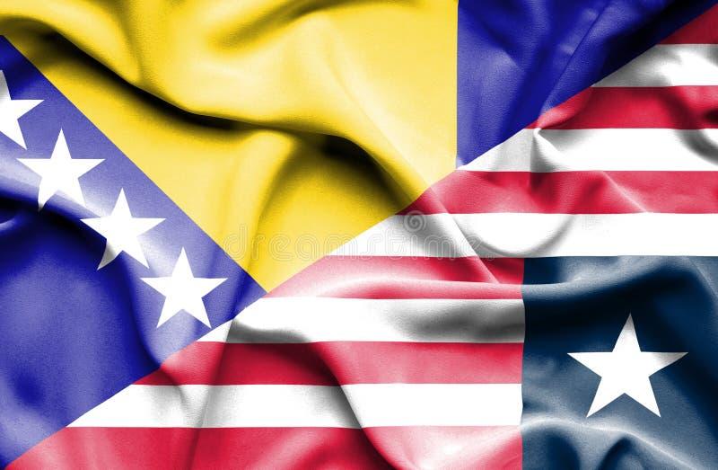 利比里亚和波黑的挥动的旗子 库存例证