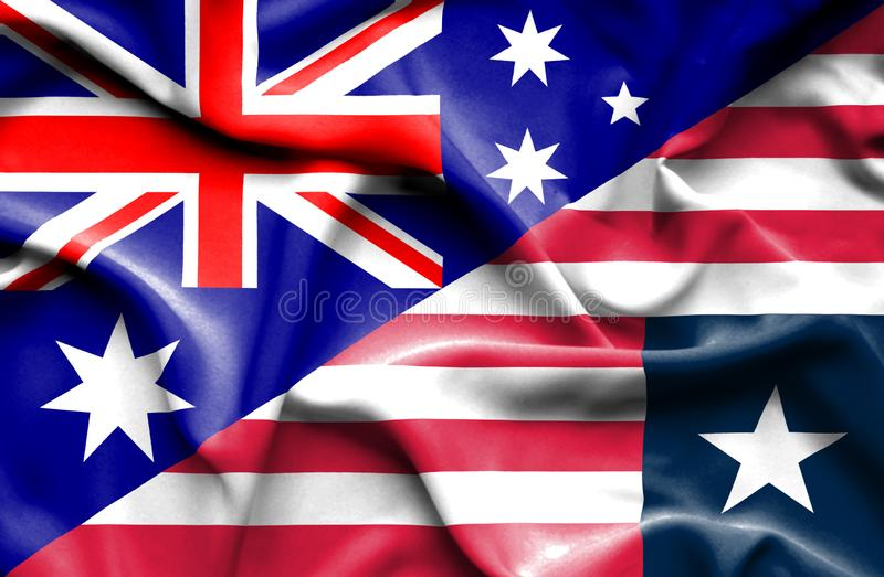 利比里亚和澳大利亚的挥动的旗子 皇族释放例证