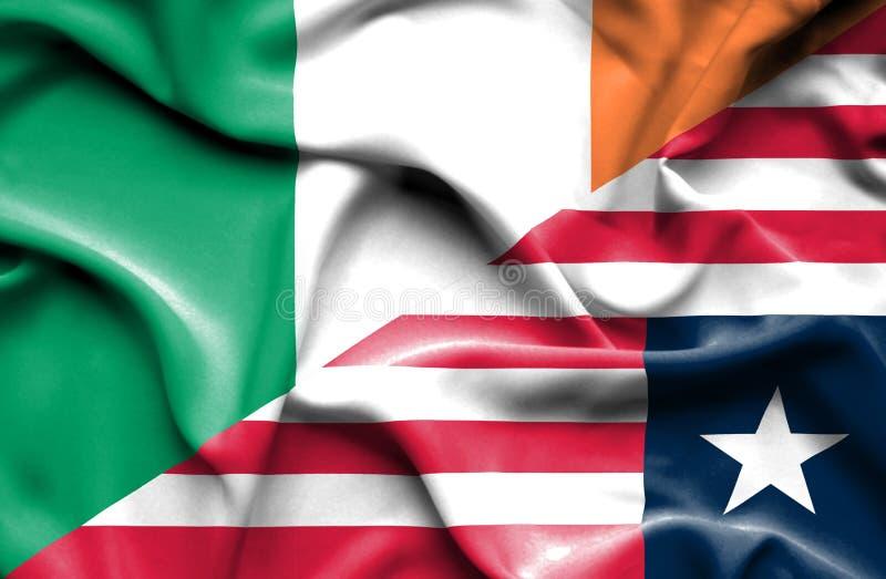 利比里亚和爱尔兰的挥动的旗子 向量例证