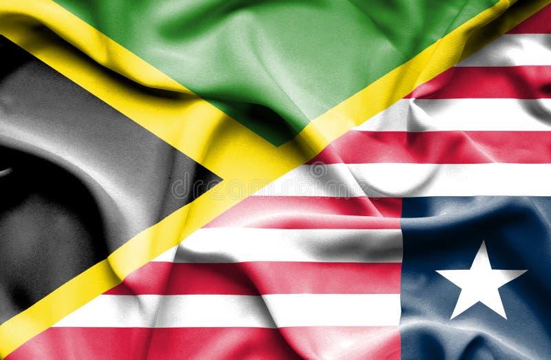 利比里亚和牙买加的挥动的旗子 向量例证