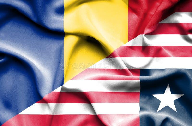 利比里亚和罗马尼亚的挥动的旗子 向量例证
